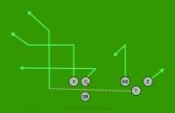 Motion Tight Flood is a 6 on 6 flag football play