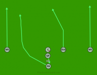 Single Back Run Left is a 6 on 6 flag football play